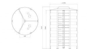 PoE Power Rotor Full Height Turnstile Dimensions Borer Fingerprint Access Control