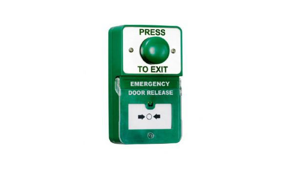 Dual Unit Green Domed Press to Exit Emergency Door Release - Borer Fingerprint Access Control Systems